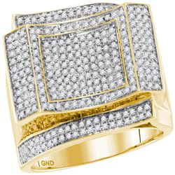 0.89 CTW Mens Diamond Square Cluster Ring 10KT Yellow Gold - REF-119Y9X