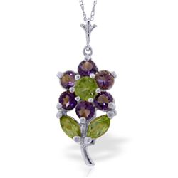Genuine 1.06 ctw Amethyst & Peridot Necklace Jewelry 14KT White Gold - REF-25X3M