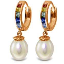 Genuine 9.3 ctw Multi-Color Sapphire & Pearl Earrings Jewelry 14KT Rose Gold - REF-48H4X