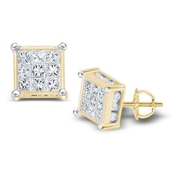0.51 CTW Princess Diamond Square Cluster Stud Earrings 14KT Yellow Gold - REF-37X5Y