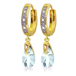 Genuine 2.53 ctw Aquamarine & Diamond Earrings Jewelry 14KT Yellow Gold - REF-60X3M