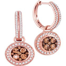 1.06 CTW Cognac-brown Color Diamond Circle Dangle Earrings 14KT Rose Gold - REF-112Y5X