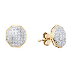 0.20 CTW Diamond Octagon Cluster Earrings 10KT Yellow Gold - REF-18M2H