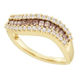 0.65 CTW Princess Cognac-brown Color Diamond Ring 14KT Yellow Gold - REF-59M9H