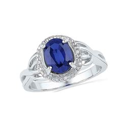 0.02 CTW Oval Created Blue Sapphire Solitaire Diamond Ring 10KT White Gold - REF-20X9Y