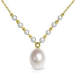 Genuine 4.8 ctw Pearl & Diamond Necklace Jewelry 14KT Yellow Gold - REF-121V9W