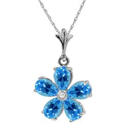 Genuine 2.22 ctw Blue Topaz & Diamond Necklace Jewelry 14KT White Gold - REF-30K2V