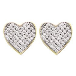 0.10 CTW Diamond Heart Screwback Earrings 10KT Yellow Gold - REF-10Y5X