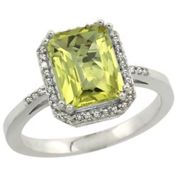 Natural 2.63 ctw Lemon-quartz & Diamond Engagement Ring 10K White Gold - REF-31H9W