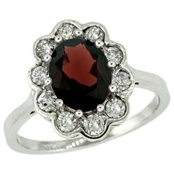 Natural 2.34 ctw Garnet & Diamond Engagement Ring 10K White Gold - REF-70V6F