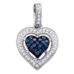 0.20 CTW Blue Color Diamond Framed Heart Pendant 10KT White Gold - REF-14W9K