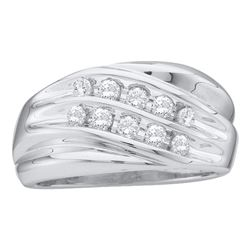 0.50 CTW Mens Diamond Wedding Anniversary Ring 10KT White Gold - REF-44M9H