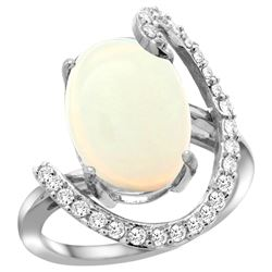 Natural 5.89 ctw Opal & Diamond Engagement Ring 14K White Gold - REF-93R6Z