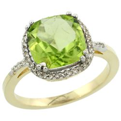 Natural 4.11 ctw Peridot & Diamond Engagement Ring 10K Yellow Gold - REF-38F2N