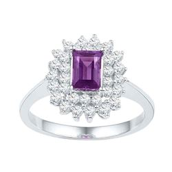 1.35 CTW Emerald Created Amethyst Solitaire Diamond Ring 10KT White Gold - REF-52X4Y