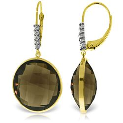 Genuine 34.15 ctw Smoky Quartz & Diamond Earrings Jewelry 14KT Yellow Gold - REF-63P4H