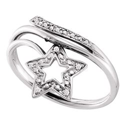 0.03 CTW Diamond Star Bypass Ring 10KT White Gold - REF-12N2F