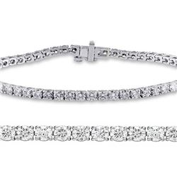 Natural 3.01ct VS-SI Diamond Tennis Bracelet 18K White Gold - REF-236X6F