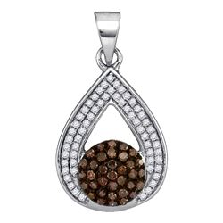 0.33 CTW Cognac-brown Color Diamond Teardrop Cluster Pendant 10KT White Gold - REF-22N4F