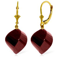 Genuine 30.5 ctw Ruby Earrings Jewelry 14KT Yellow Gold - REF-44T4A