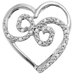 0.05 CTW Diamond Curled Heart Pendant 10KT White Gold - REF-8Y9X