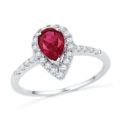 1.21 CTW Pear Created Ruby Solitaire Diamond  Ring 10KT White Gold - REF-34N4F