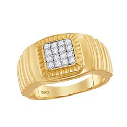 0.45 CTW Mens Diamond Square Cluster Ribbed Ring 10KT Yellow Gold - REF-57N2F