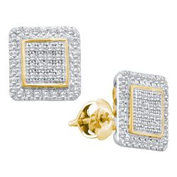 0.31 CTW Diamond Cluster Square Stud Earrings 10KT Yellow Gold - REF-26N9F