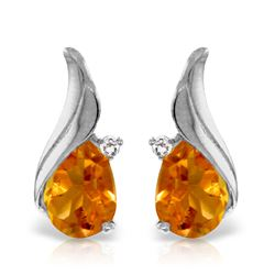 Genuine 3.26 ctw Citrine & Diamond Earrings Jewelry 14KT White Gold - REF-52T7A