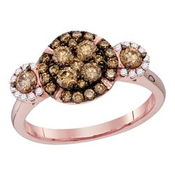 0.95 CTW Cognac-brown Color Diamond Circle Cluster Bridal Ring 14KT Rose Gold - REF-97K4W