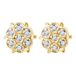 0.05 CTW Prong-set Diamond Cluster Stud Earrings 10KT Yellow Gold - REF-6X6Y