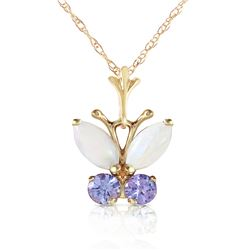 Genuine 0.70 ctw Opal & Tanzanite Necklace Jewelry 14KT Yellow Gold - REF-25N9R