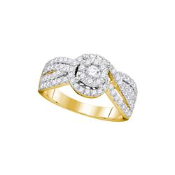 0.97 CTW Diamond Solitaire Bridal Engagement Ring 14KT Yellow Gold - REF-142Y4X