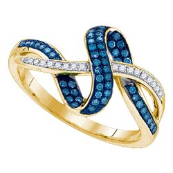 0.25 CTW Blue Color Diamond Ring 10KT Yellow Gold - REF-32W9K
