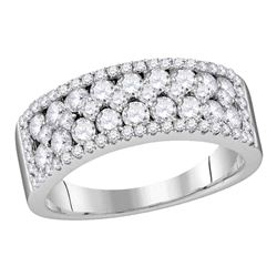 1.49 CTW Pave-set Diamond Double Two Row Ring 10KT White Gold - REF-94Y4X