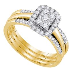 0.50 CTW Diamond Amour Halo Bridal Wedding Engagement Ring 14k Yellow Gold - REF-67X4Y