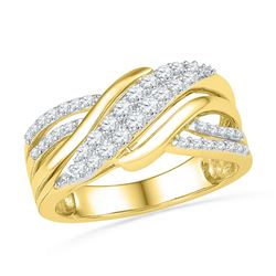 0.50 CTW Diamond Crossover Ring 10KT Yellow Gold - REF-52K4W