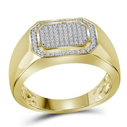 0.27 CTW Mens Diamond Octagon Cluster Ring 10KT Yellow Gold - REF-49W5K