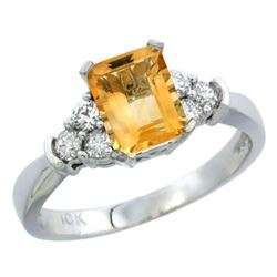 Natural 1.48 ctw citrine & Diamond Engagement Ring 10K White Gold - REF-43Y3X