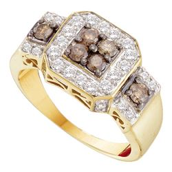 1 CTW Cognac-brown Color Diamond Square Cluster Ring 14KT Yellow Gold - REF-75N2F