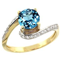 Natural 1.24 ctw swiss-blue-topaz & Diamond Engagement Ring 10K Yellow Gold - REF-42X9A