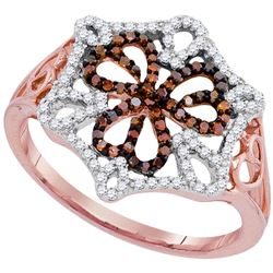 0.33 CTW Red Color Diamond Openwork Triple Heart Cluster Ring 10KT Rose Gold - REF-32N9F