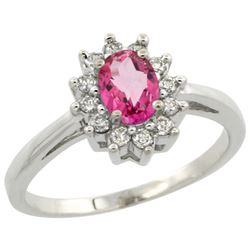 Natural 0.67 ctw Pink-topaz & Diamond Engagement Ring 10K White Gold - REF-38R8Z