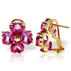 Genuine 7.6 ctw Pink Topaz Earrings Jewelry 14KT Yellow Gold - REF-82W9Y
