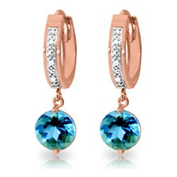 Genuine 3.28 ctw Blue Topaz & Diamond Earrings Jewelry 14KT Rose Gold - REF-55V3W