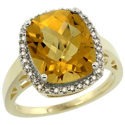 Natural 5.28 ctw Whisky-quartz & Diamond Engagement Ring 10K Yellow Gold - REF-39A2V