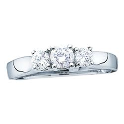 0.26 CTW 3-Stone Diamond Bridal Wedding Engagement Ring 14KT White Gold - REF-26H3M