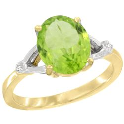 Natural 2.79 ctw Peridot & Diamond Engagement Ring 14K Yellow Gold - REF-38F6N