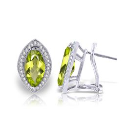 Genuine 4.3 ctw Peridot & Diamond Earrings Jewelry 14KT White Gold - REF-102P8H