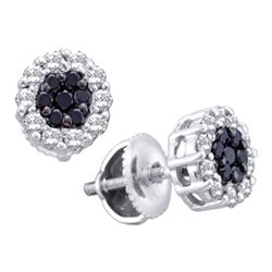 0.50 CTW Black Color Diamond Flower Screwback Stud Earrings 14k White Gold - REF-34F4N